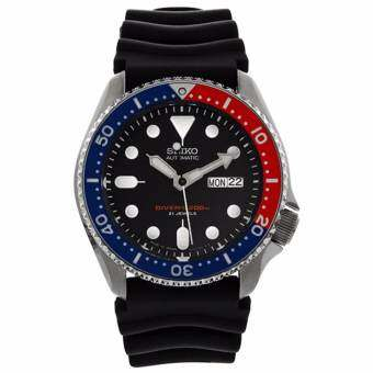 Seiko นาฬิกาข้อมือชาย Divers Automatic Black/Blue Dial Black Rubber SKX009J1 (Made in japan)