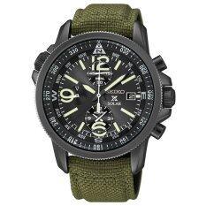 ราคา Seiko Prospex Solar Chronograph นาฬิกาข้อมือผู้ชาย สีดำ สีเขียว สายผ้า รุ่น Ssc295P1 Seiko เป็นต้นฉบับ