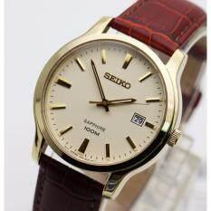 ซื้อ นาฬิกา Seiko ควอทซ์ Sapphire Gent Sgeh44P1 เรือนทองสายหนัง ใหม่ล่าสุด