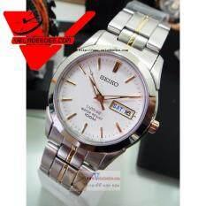 ซื้อ Seiko Sapphire Glass นาฬิกาข้อมือผู้ชาย สายสแตนเลส รุ่น Sgg719P1 สีขาว ทอง ถูก