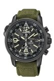 ราคา Seiko นาฬิกาผู้ชาย สายหนังบุผ้า Seiko Prospex X Solar Alarm Chronograph Ssc295P1 สีเขียว ราคาถูกที่สุด
