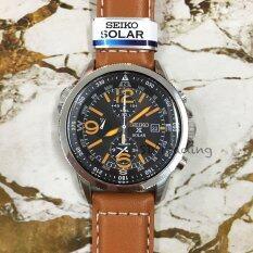 โปรโมชั่น Seiko Solar Alarm Chronograph Men S Watch รุ่น Ssc081P2 สีเงิน สีดำ สีน้ำตาล Seiko ใหม่ล่าสุด