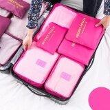 ซื้อ รายละเอียดของสินค้า กระเป๋าจัดระเบียบเสื้อผ้าสำหรับการเดินทาง Set 6 ใบ สีชมพูอ่อน Pink ถูก ใน Thailand