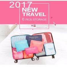 ทบทวน ที่สุด รายละเอียดของสินค้า กระเป๋าจัดระเบียบเสื้อผ้าสำหรับการเดินทาง Set 6 ใบ สีชมพูอ่อน Pink