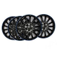 ราคา Set Of 4 Universal 14 Blue And Black Sports Auto Car Rim Wheel Trims Cover Hubs Unbranded Generic