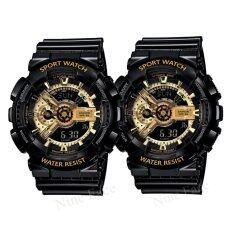 ขาย Sevenlight S Sport นาฬิกาข้อมือคู่ แถมกล่องสวยหรู Gp9210 Black Goldx2 ถูก