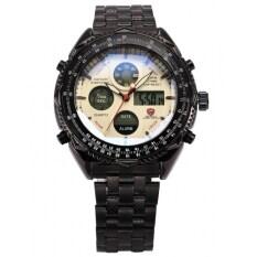 ราคา Shark Mens Black Date Day Alarm Led Analog Stainless Steel Quartz Wrist Stopwatch Sh116 เป็นต้นฉบับ