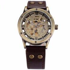ซื้อ Shenhua Vintage Bronze Roman Automatic Mechanical Men S Skeleton Brown Leather Strap Wrist Watch Pmw362 นาฬิกาข้อมือชาย แฟชั่น สปอร์ต เท่ Intl ถูก ใน จีน