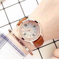 นาฬิกาข้อมือควอทซ์ ลำลองผู้หญิง แต่งพลอยเทียม เรืองแสง.