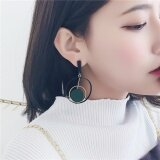Silent Flower Women Elegant Ring Earrings Tassel Handmade Ear Jewelry Fashion New Style Drop Earrings Green Intl เป็นต้นฉบับ