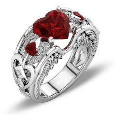 เงินธรรมชาติทับทิมอัญมณี Birthstone เจ้าสาวหมั้นแหวนรูปหัวใจ Rd - Intl.