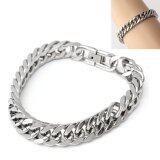 ซื้อ Silver Tone 316L Stainless Steel Curb Chain Mens Chunky Fashion Bracelet 23Cm ออนไลน์