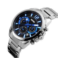 โปรโมชั่น Simplehome Skmei 9108 Business Men S Waterproof Watch Quartz Stopwatch Silver Black Shell Surface Black Intl ถูก
