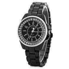 ซื้อ Sinobi 9390 เซรามิกนาฬิกาควอทซ์เพชรแฟชั่นผู้หญิงหน้าปัดกลมสเตนเลสรัด สีดำ Sinobi