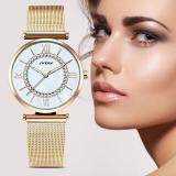 ราคา Sinobi Fashion Women S Diamonds Wrist Watches Mother Of Pearl Dial Mesh Steel Bracelet Wristwatch Intl ถูก