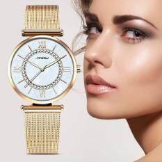 ขาย Sinobi Fashion Women S Diamonds Wrist Watches Mother Of Pearl Dial Mesh Steel Bracelet Wristwatch Intl ใน จีน