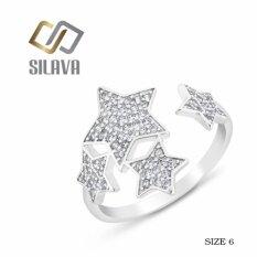 ขาย Sivala Jewelry แหวนเงิน ประดับเพชรสวิส Cz No 3 รูปดาว 4 ดวง สีขาวสวยเป็นประกายดุจเพชรแท้ Size 6 ออนไลน์