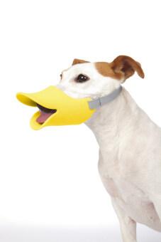 ปากเป็ด ที่ครอบปากสุนัข กันเลีย กันเห่า กันกัด Size L สีเหลือง