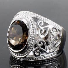 ราคา Skjewelryfactory Mr00494 Smq แหวนเงินแท้ 92 5 ฝังพลอยสโมกกี้ควอทซ์แท้