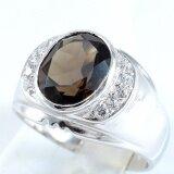 ขาย Skjewelryfactory Mr00034 Smq แหวนเงินแท้ 92 5 ฝังพลอยสโมกกี้ควอทซ์แท้และเพชร ถูก Thailand