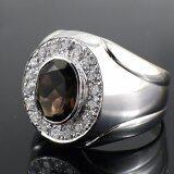 ราคา Skjewelryfactory แหวนเงินแท้ฝังพลอยสโมกกี้ควอทซ์แท้ และเพชร