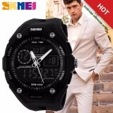 ขาย 100 Genuine Men Sport Fashion Hiking Wristwatch Digital Watch 2 Time Zone Watches Skmei 1015 Waterproof ผู้ชายสีดำยางรัดนาฬิกา 1015 จีน