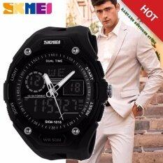 100 Genuine Men Sport Fashion Hiking Wristwatch Digital Watch 2 Time Zone Watches Skmei 1015 Waterproof ผู้ชายสีดำยางรัดนาฬิกา 1015 ถูก