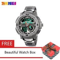ราคา Skmei 1121 Fashion Sport Waterproof Men Quartz Digital Silver Watch Intl Skmei