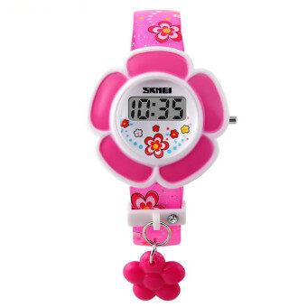 Skmei 1144 เด็กหนุ่มเด็กสาวชายนาฬิกาดิจิตอล led\nดอกไม้แฟชั่นนาฬิกาข้อมือซิลิโคนสีชมพู