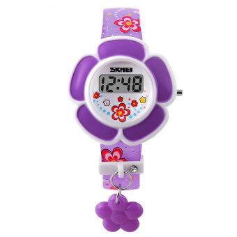 นาฬิกาข้อมือ 1144 เด็กหนุ่มเด็กสาวชายนาฬิกาดิจิตอลนำดอกไม้แฟชั่นนาฬิกาข้อมือซิลิโคนสีม่วง