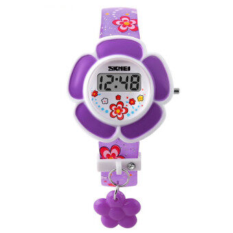 Skmei 1144 Child Kid Children Girl Boy Flower Watch Fashion LED Digital Silicone Wristwatch Purple