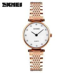 ซื้อ Skmei 1223 Fashion Women Quartz Watches Casual Girls Wristwatches Rhinestones Waterproof Ladies Watch Rose Gold White Intl Skmei