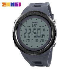 ขาย ซื้อ Skmei 1246 Men Sports Countdown Chrono 50M Waterproof Watch Double Time El Light Digital Wrist Watches Gray จีน