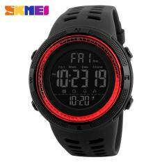 Skmei 1251 Men S Sports Watches Countdown Double Time Watch Alarm Chrono Digital Wristwatches 50M Waterproof Watches Black Red Intl ถูก