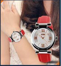 โปรโมชั่น Skmei 9075 Women S Watch Quartz Watch Fahsion Women S Leather Watch Red Intl Skmei
