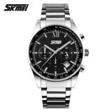 ซื้อ Skmei 9096 30M Waterproof 3 Dial Steel Belt Quartz Watch Black Intl ออนไลน์ ถูก