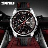 ราคา นาฬิกาข้อมือ Skmei 9106 นาฬิกาแฟชั่นสำหรับผู้ชาย ธุรกิจ หนังสัตว์ ปฏิทิน นาฬิกาจับเวลา นาฬิกากันน้ำ Intl Skmei เป็นต้นฉบับ