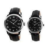 ซื้อ Skmei Brand 9058 His And Hers Watches Fashion Casual Watches Leather Strap 30M Waterproof Lovers Quartz Wristwatches Black White Black ถูก