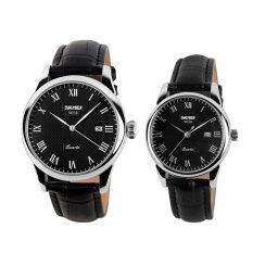 ขาย ซื้อ Skmei Brand 9058 His And Hers Watches Fashion Casual Watches Leather Strap 30M Waterproof Lovers Quartz Wristwatches Black White Black จีน