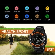 ซื้อ นาฬิกาแบรนด์ Skmei นาฬิกาผู้ชาย 3D Pedometer Heart Rate Monitor กีฬา แคลอรี่เคาน์เตอร์ Chronograph Back Light นาฬิกาดิจิตอล 1180 Skmei เป็นต้นฉบับ
