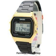 ซื้อ Skmei นาฬิกาข้อมือแฟชั่นผู้หญิง ระบบ Digital สายแฟชั่นรมดำตัวกรอบตัวเรือนสีทอง กันนํ้า พร้อมกล่อง