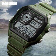 Skmei ดิจิตอลนาฬิกาข้อมือนาฬิกาผู้ชายแบรนด์หรูโครโนกราฟสัปดาห์ดิสเพลย์ชายสีดำดูบุรุษกีฬานาฬิกาผู้ชายกันน้ำ - สนามบินนานาชาติ.