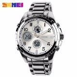 ซื้อ Skmei Fashion Black Stainless Full Steel Strap Relogio Male Clock Men Wristwatch Quartz Sport Watch Waterproof Montre Homme Silver Intl ออนไลน์ ถูก