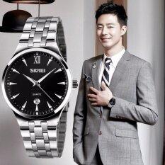 ขาย Skmei Men S Noctilucent Quartz Dress Watch Business Waterproof Stainless Steel Date Display Luminous Pointer Wristwatch Intl จีน ถูก