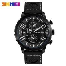 Skmei ชายกีฬานาฬิกา 30 เมตรกันน้ำปฏิทินนาฬิกาข้อมือควอตซ์สายนาฬิกาซิลิโคน 9153 สีดำ ใน จีน