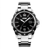Skmei New Fashion Men S Silver Stainless Steel Band Wrist Watch Black 0992 Intl ถูก