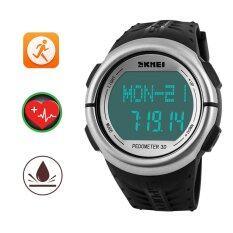 ซื้อ Skmei Pedometer Calories Counter Heart Rate Monitor Watch Fitness 50M Waterproof Watches Swimming Diving Watches Black Silver Intl