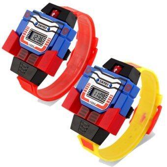 SKMEI นาฬิกาหุ่นยนต์ ดิจิตอล สำหรับเด็ก แพคคู่ รุ่น SKMEI1095 สีเหลือง + สีแดง