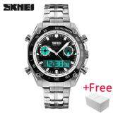 ขาย นาฬิกาข้อมือ Skmei กีฬาผู้ชายแฟชั่น 30 เมตรกันน้ำ Led อิเล็กทรอนิกส์นาฬิกาสุดหรู Shock สแตนเลสจอแสดงผลแบบ Dual นาฬิกาข้อมือ 1204 ใหม่