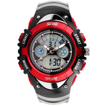 SKMEI กีฬาลูกยางกันน้ำสำหรับบุรุษนาฬิกาข้อมือ led รัด-สีแดง 0998
